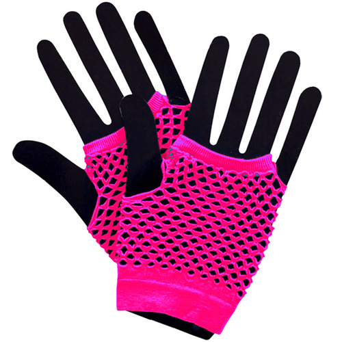 Short Fishnet Punk Gloves - Neon Pink image