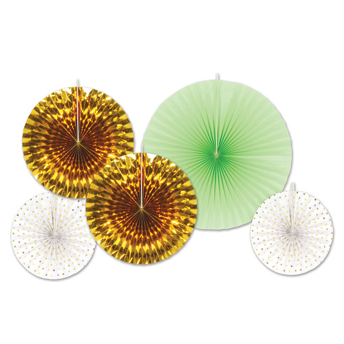 Assorted Gold & Mint Green  Paper & Foil Decorative Fans image