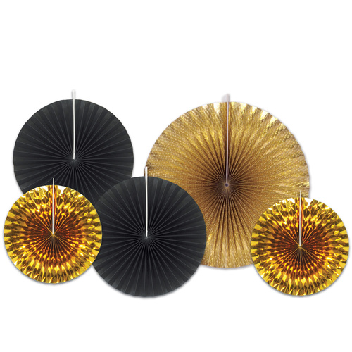 Assorted Paper Black & Gold Foil Decorative Fans image