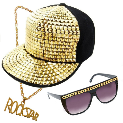 Party Rock Kit - Sutdded Cap, Glasses, Neck Chain