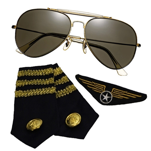 Aviator Kit - Glasses, Epaulets & Badge image