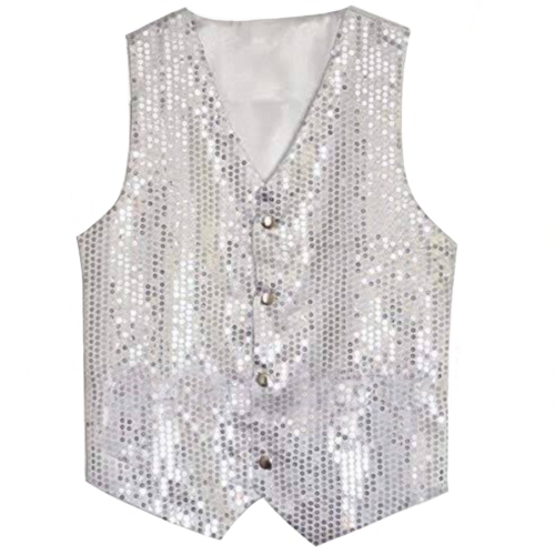Superior Quality Sequined Vest with buttons - Silver image