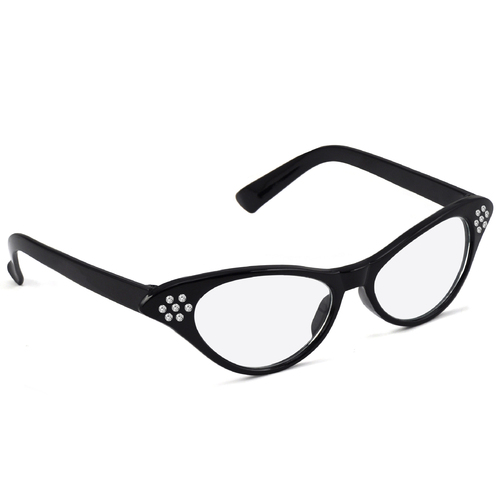 50s Rhinestone Glasses - Black image