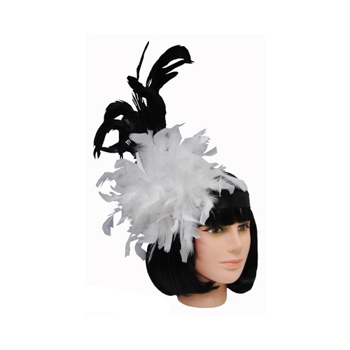 Feather Fascinator Headress - Black/Wht image
