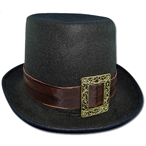 Steampunk Top Hat w/Buckle - Black image