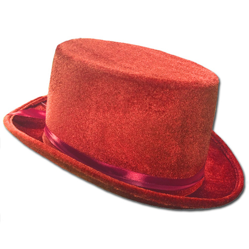 Velvet Top Hat - Red image