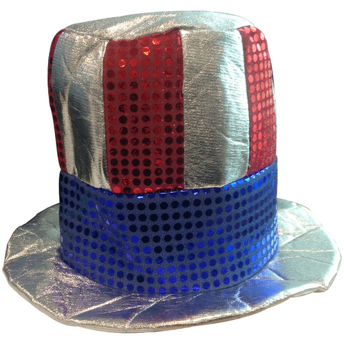 Glitzy Sequin Top Hat - Uncle Sam image