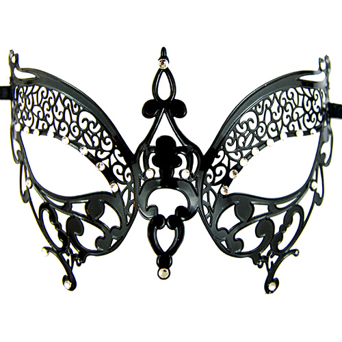 Metal Masquerade Mask - Black Butterfly image