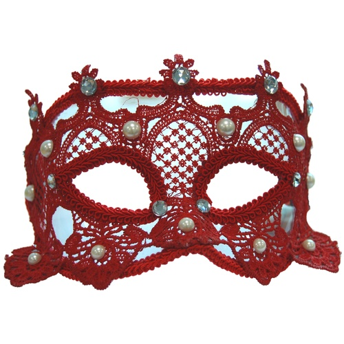 **Lace Carnival Eyemask w/Pearls - Red** image