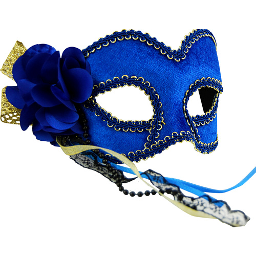 Masquerade Mask - Blue & Gold w/Flower image