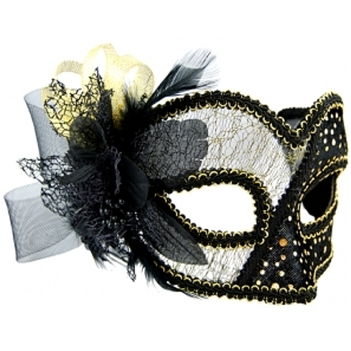 Masquerade Mask - Black w/Tulle Details image