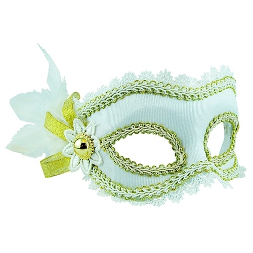 Masquerade Mask - White w/Side Feathers image