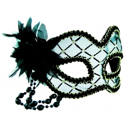 Masquerade Mask - Black & Clear w/Flowe image